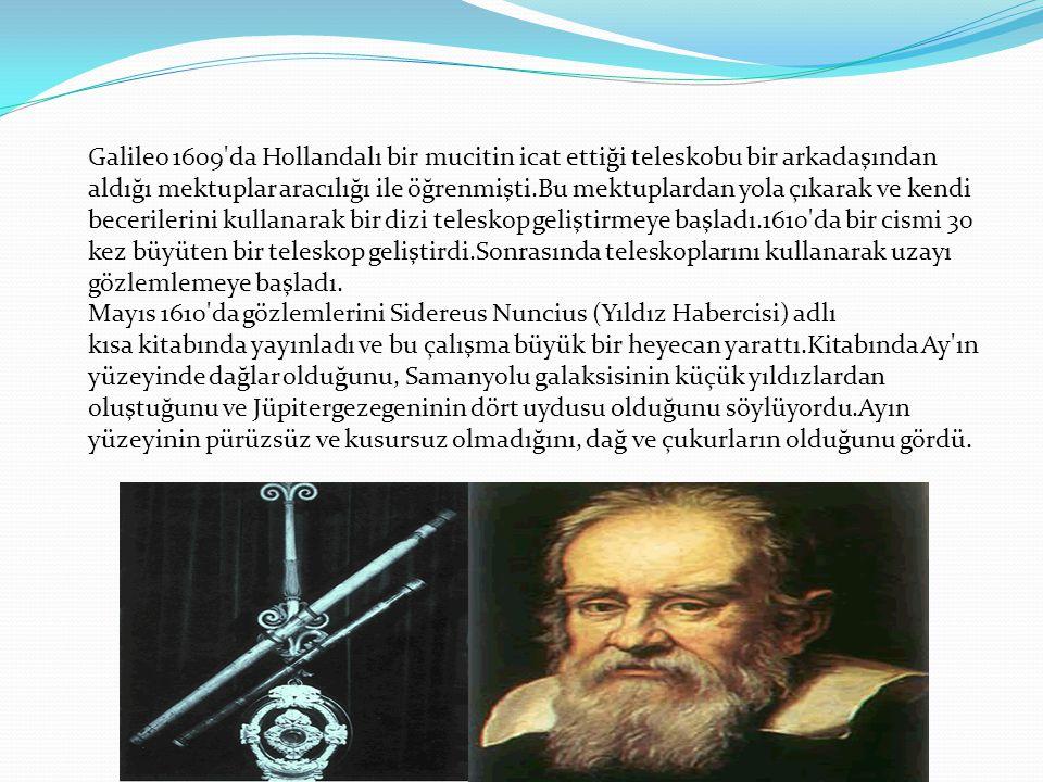 Galileo 1609 da Hollandalı bir mucitin icat ettiği teleskobu bir arkadaşından aldığı mektuplar aracılığı ile öğrenmişti.Bu mektuplardan yola çıkarak ve kendi becerilerini kullanarak bir dizi teleskop geliştirmeye başladı.1610 da bir cismi 30 kez büyüten bir teleskop geliştirdi.Sonrasında teleskoplarını kullanarak uzayı gözlemlemeye başladı.