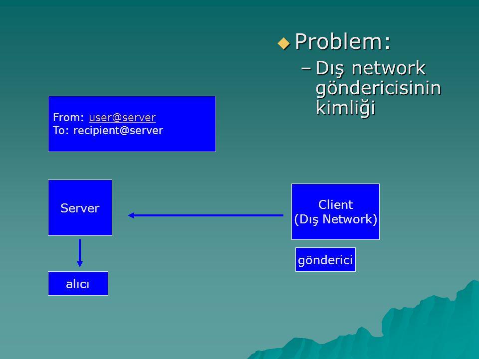 Problem: Dış network göndericisinin kimliği Server Client