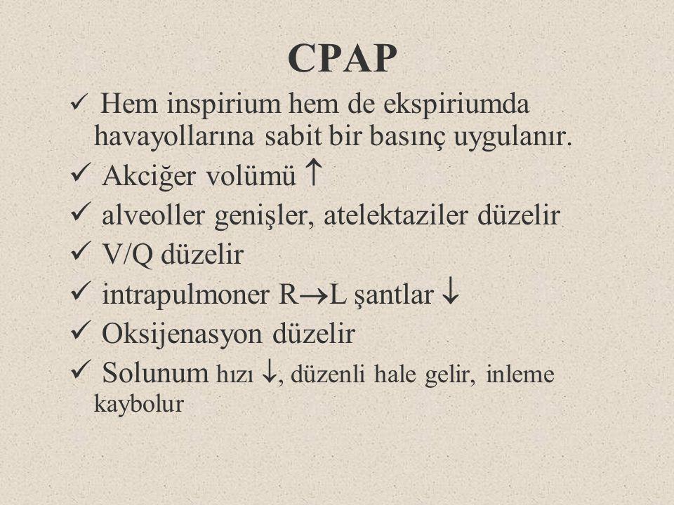 CPAP Akciğer volümü  alveoller genişler, atelektaziler düzelir