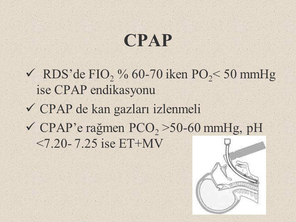 CPAP RDS'de FIO2 % 60-70 iken PO2< 50 mmHg ise CPAP endikasyonu