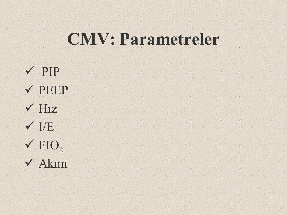 CMV: Parametreler PIP PEEP Hız I/E FIO2 Akım