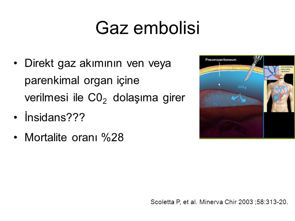 Gaz embolisi Direkt gaz akımının ven veya parenkimal organ içine verilmesi ile C02 dolaşıma girer.