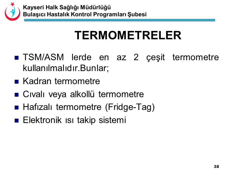 TERMOMETRELER TSM/ASM lerde en az 2 çeşit termometre kullanılmalıdır.Bunlar; Kadran termometre. Cıvalı veya alkollü termometre.