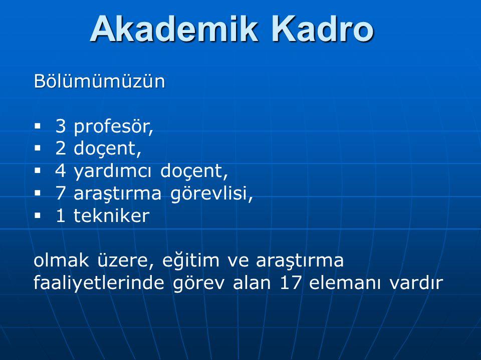 Akademik Kadro Bölümümüzün 3 profesör, 2 doçent, 4 yardımcı doçent,