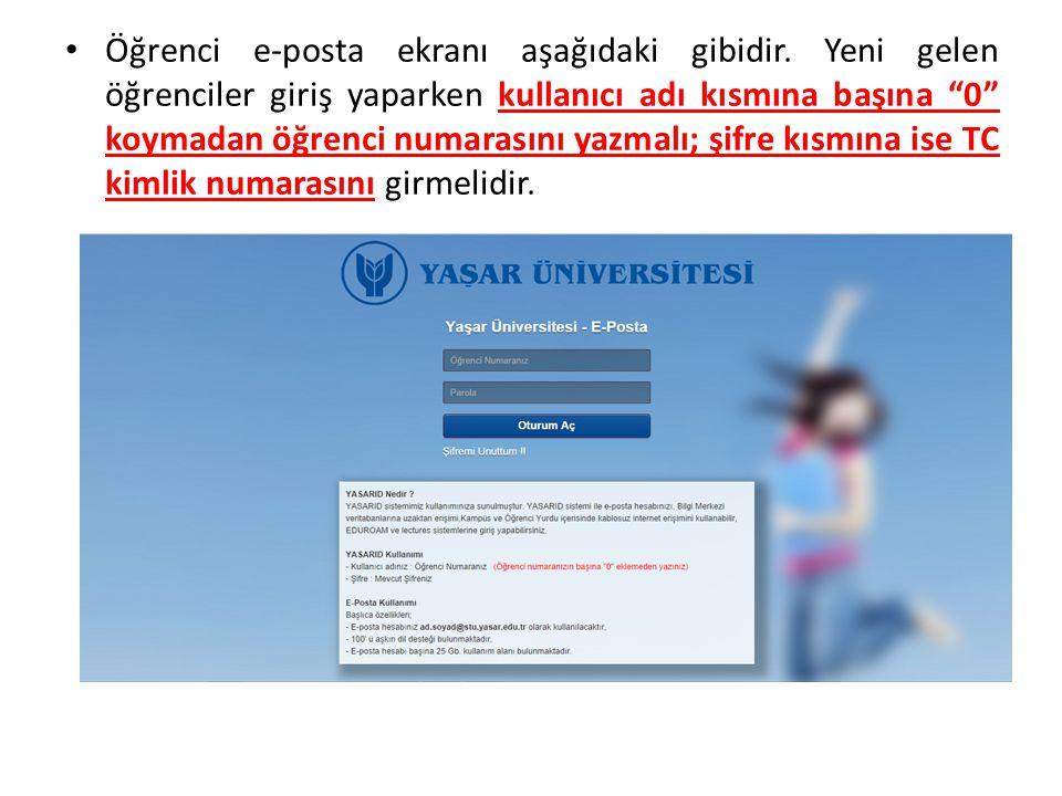 Öğrenci e-posta ekranı aşağıdaki gibidir