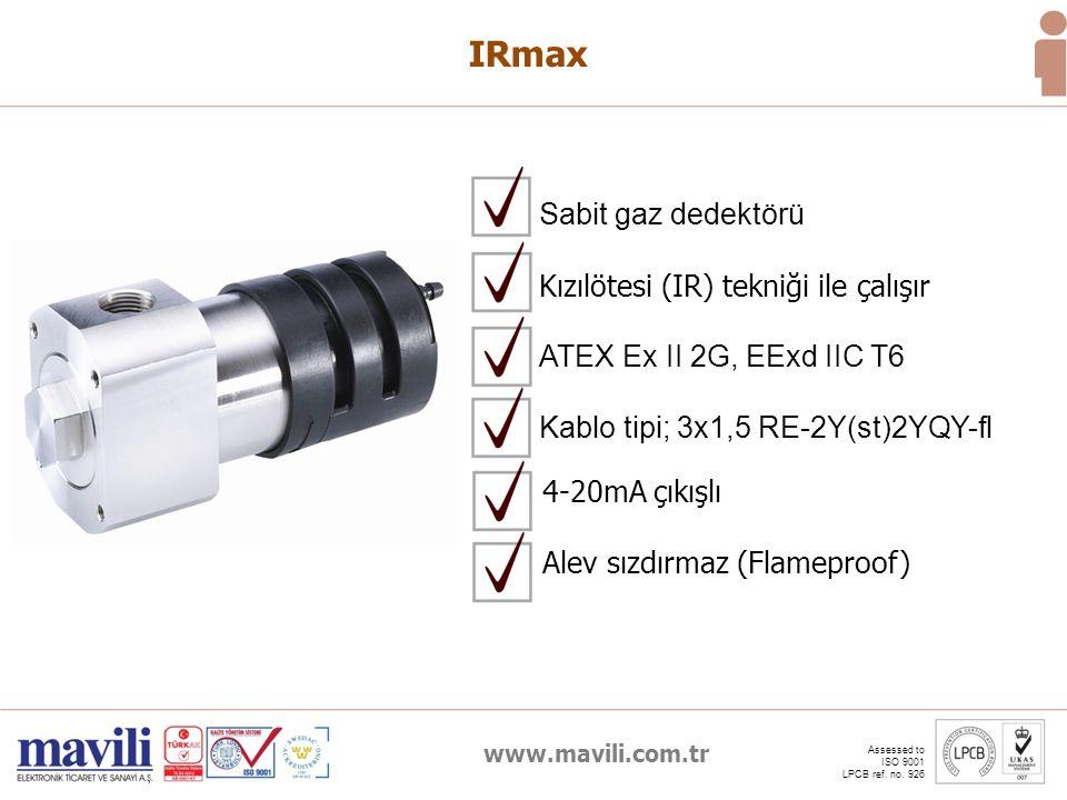 IRmax Sabit gaz dedektörü Kızılötesi (IR) tekniği ile çalışır