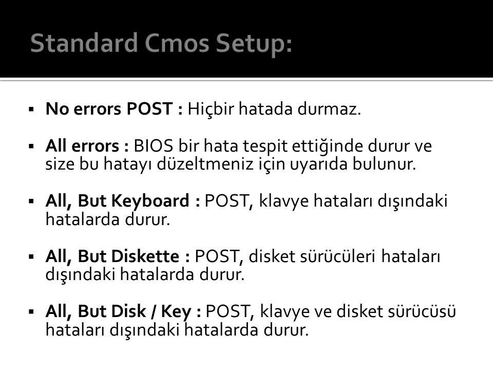 Standard Cmos Setup: No errors POST : Hiçbir hatada durmaz.