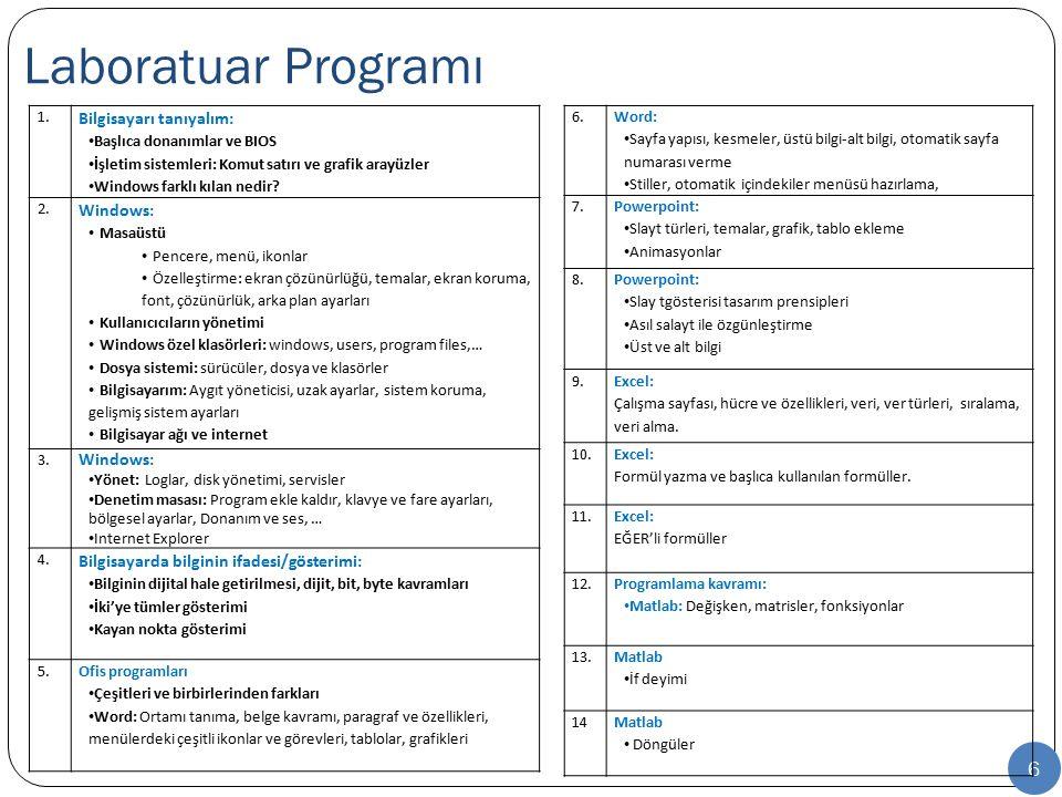 Laboratuar Programı Bilgisayarı tanıyalım: Windows: