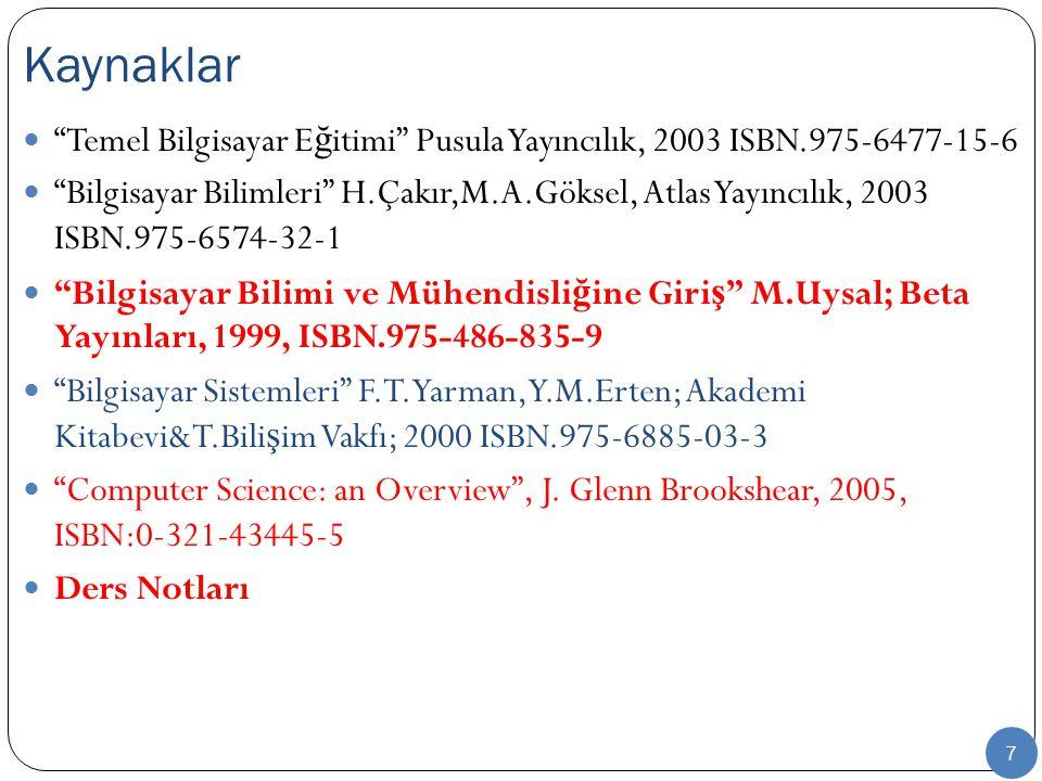 Kaynaklar Temel Bilgisayar Eğitimi Pusula Yayıncılık, 2003 ISBN.975-6477-15-6.