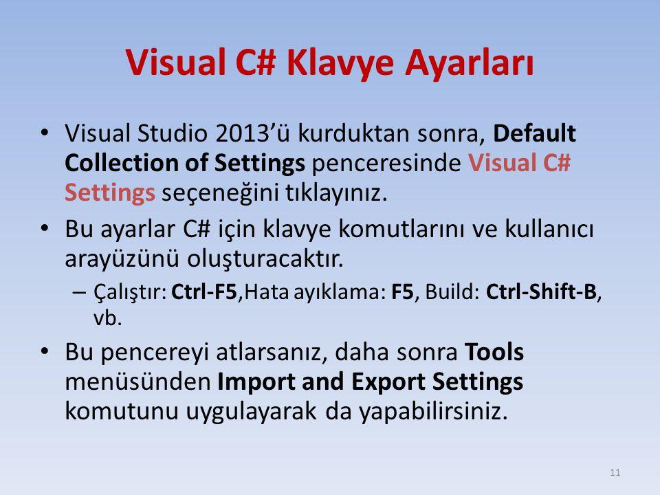 Visual C# Klavye Ayarları