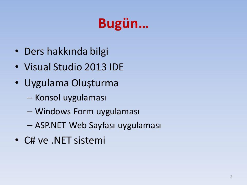 Bugün… Ders hakkında bilgi Visual Studio 2013 IDE Uygulama Oluşturma