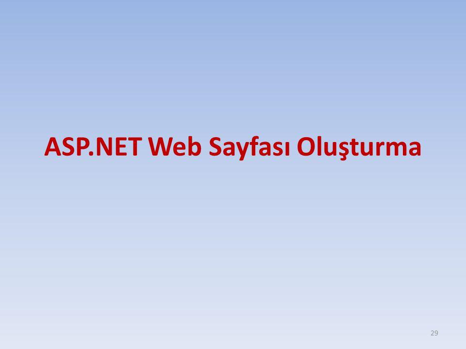 ASP.NET Web Sayfası Oluşturma