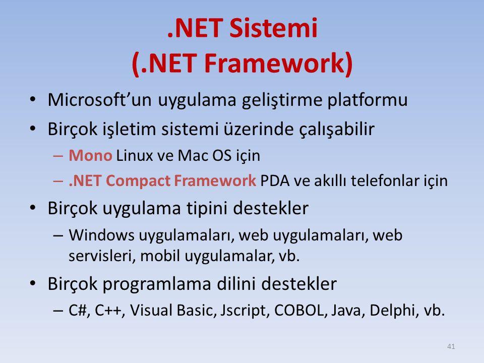 .NET Sistemi (.NET Framework)