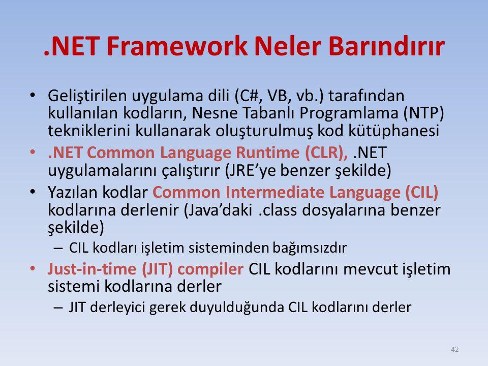.NET Framework Neler Barındırır