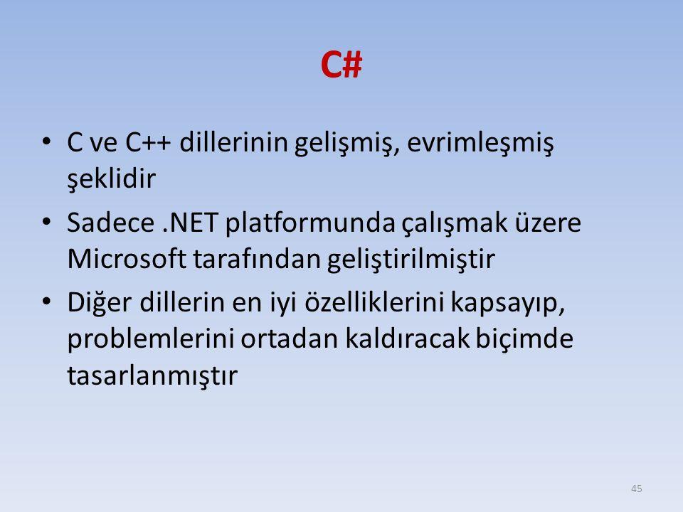 C# C ve C++ dillerinin gelişmiş, evrimleşmiş şeklidir
