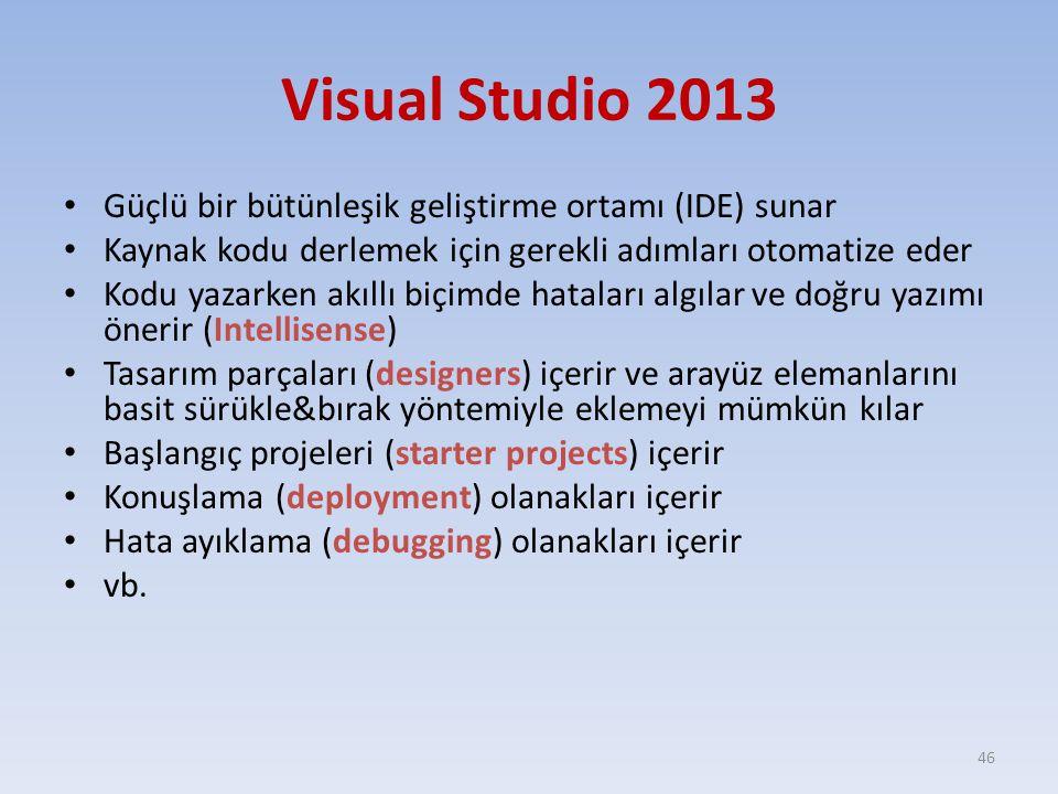 Visual Studio 2013 Güçlü bir bütünleşik geliştirme ortamı (IDE) sunar