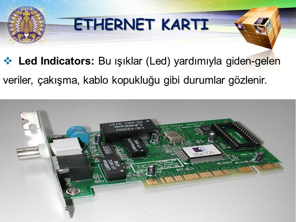 ETHERNET KARTI Led Indicators: Bu ışıklar (Led) yardımıyla giden-gelen veriler, çakışma, kablo kopukluğu gibi durumlar gözlenir.