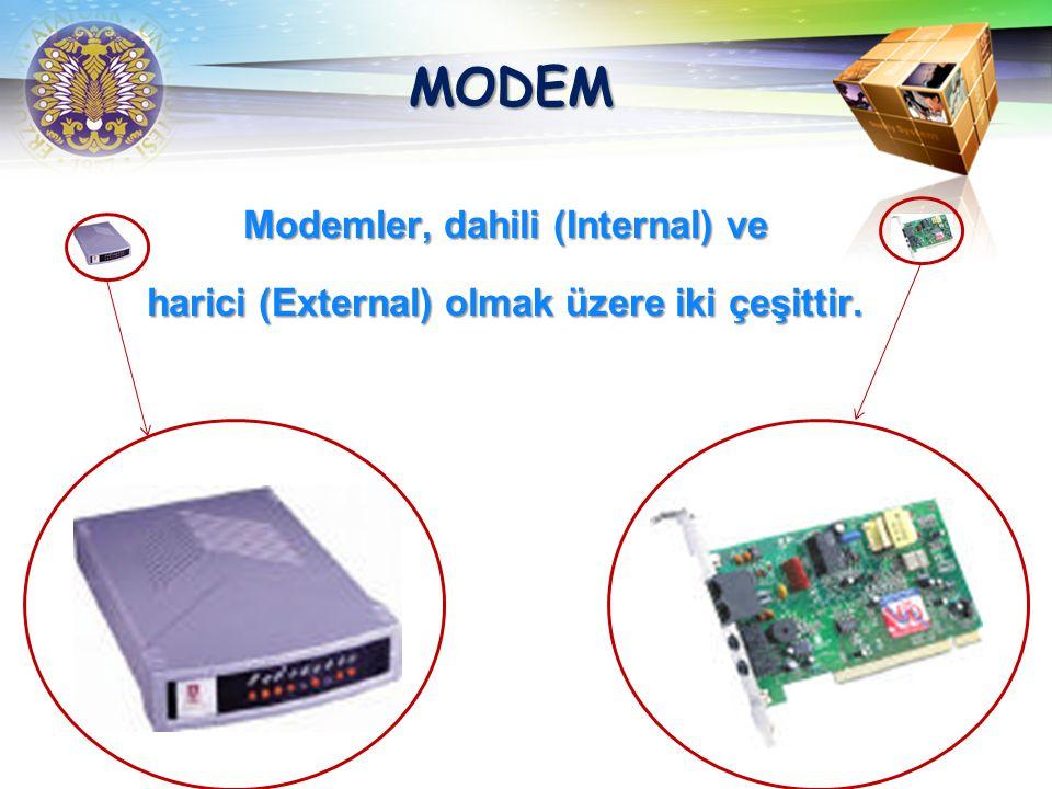 MODEM Modemler, dahili (Internal) ve harici (External) olmak üzere iki çeşittir.