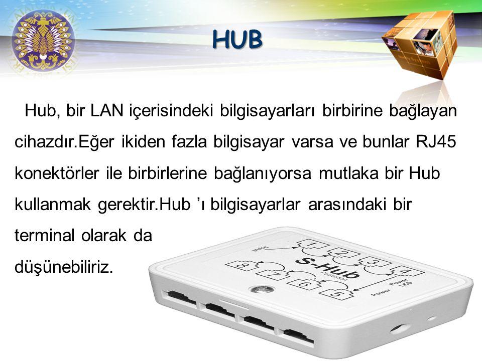 HUB Hub, bir LAN içerisindeki bilgisayarları birbirine bağlayan