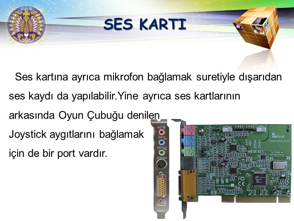 SES KARTI Ses kartına ayrıca mikrofon bağlamak suretiyle dışarıdan
