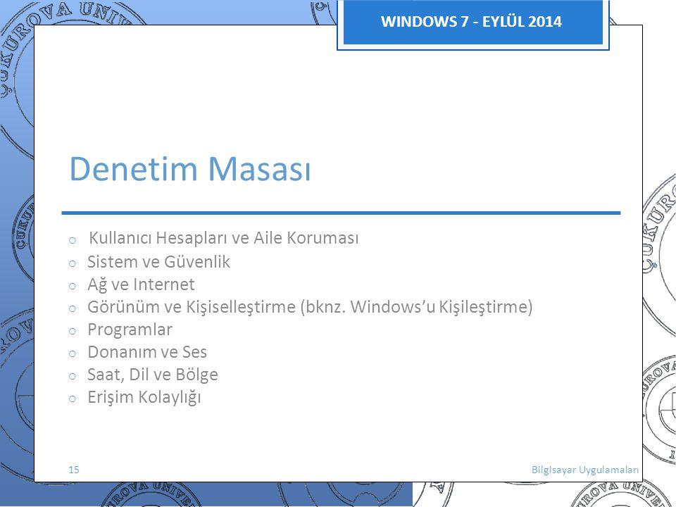 Denetim Masası WINDOWS 7 - EYLÜL 2014 o Sistem ve Güvenlik