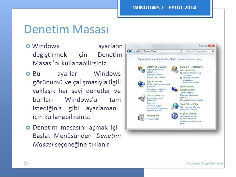 Denetim Masası WINDOWS 7 - EYLÜL 2014 ı z n