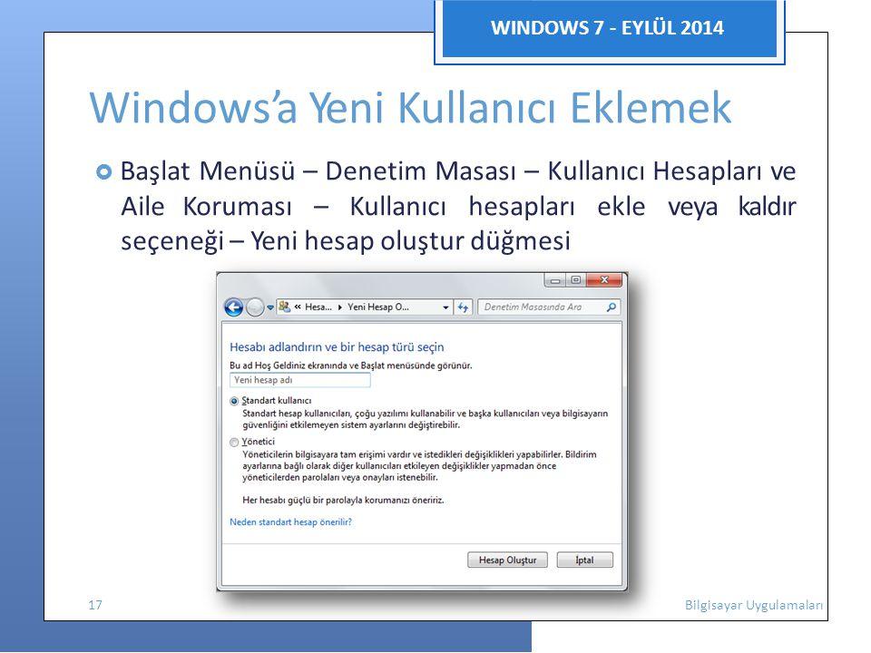 Windows'a Yeni Kullanıcı Eklemek