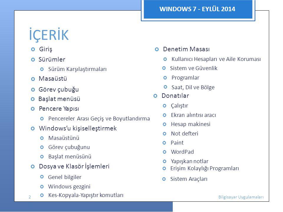 İÇERİK WINDOWS 7 - EYLÜL 2014 Donatılar