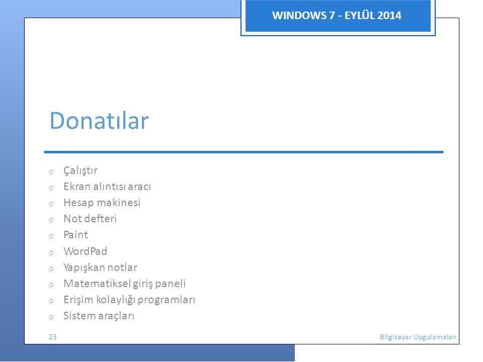 Donatılar WINDOWS 7 - EYLÜL 2014 o Çalıştır o Ekran alıntısı aracı