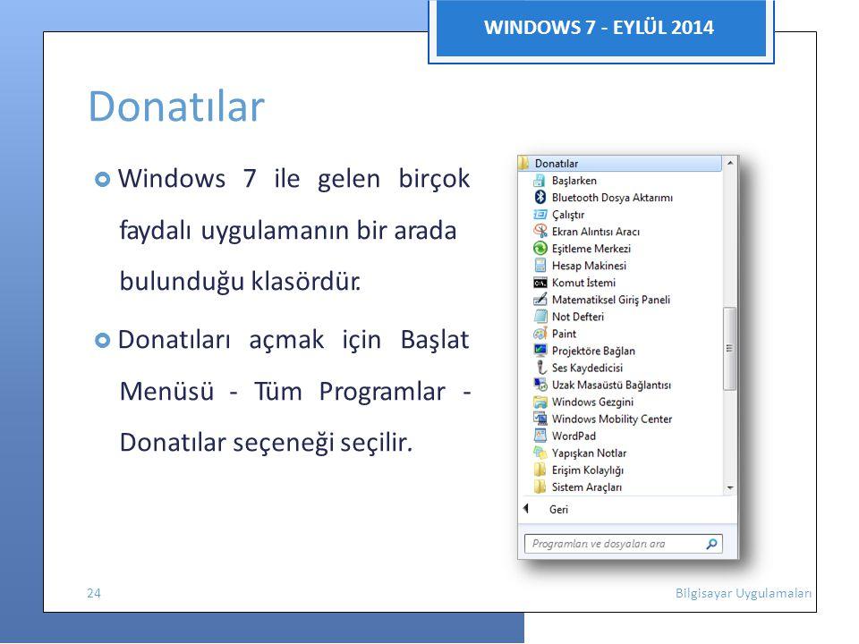 Donatılar WINDOWS 7 - EYLÜL 2014 faydalı uygulamanın bir arada