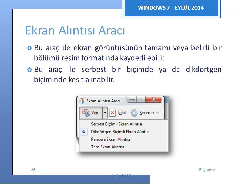 Ekran Alıntısı Aracı bölümü resim formatında kaydedilebilir.