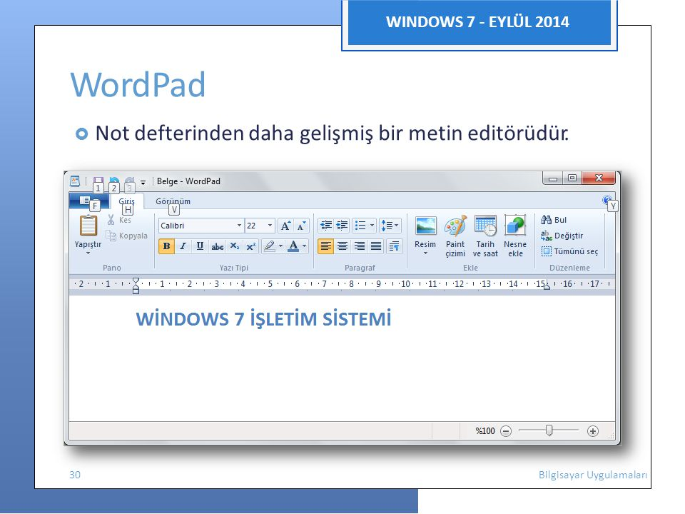 WordPad WINDOWS 7 - EYLÜL 2014