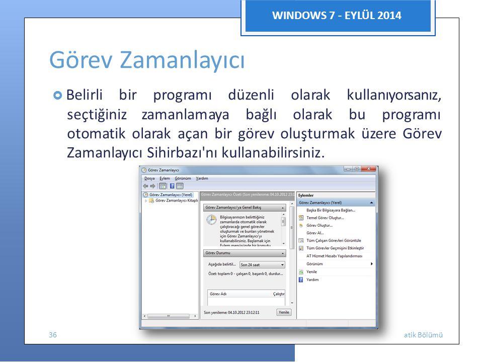 Görev Zamanlayıcı WINDOWS 7 - EYLÜL 2014