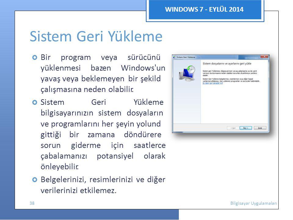 Sistem Geri Yükleme verilerinizi etkilemez. WINDOWS 7 - EYLÜL 2014 n e