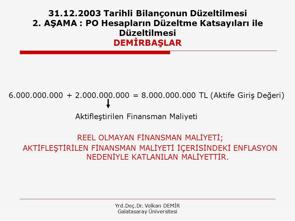 31. 12. 2003 Tarihli Bilançonun Düzeltilmesi 2