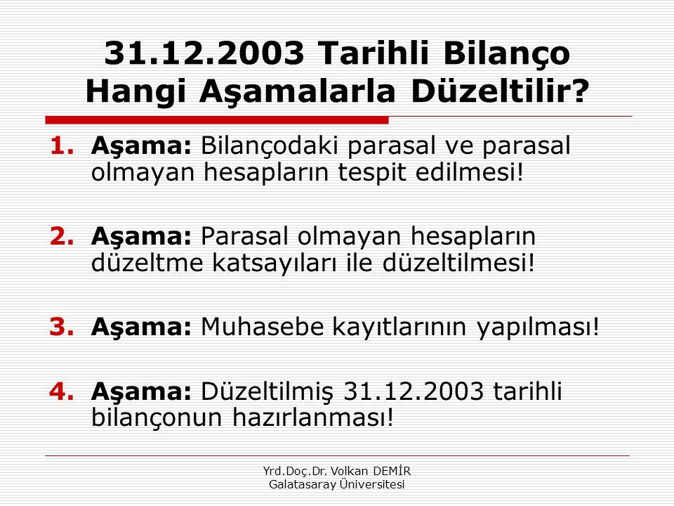 31.12.2003 Tarihli Bilanço Hangi Aşamalarla Düzeltilir