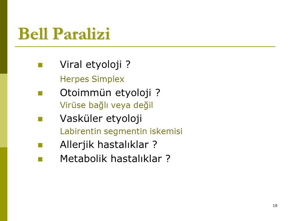 Bell Paralizi Viral etyoloji Herpes Simplex Otoimmün etyoloji