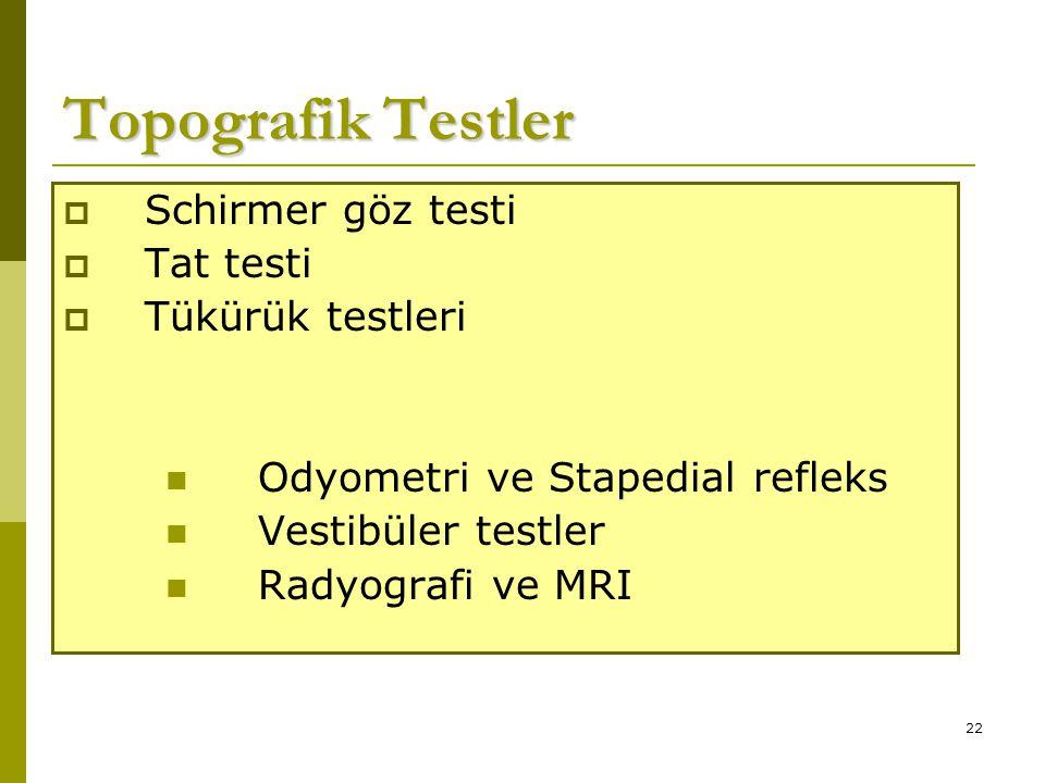 Topografik Testler Schirmer göz testi Tat testi Tükürük testleri