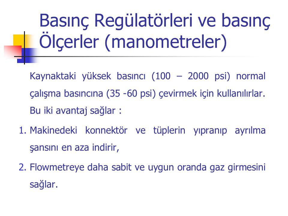 Basınç Regülatörleri ve basınç Ölçerler (manometreler)