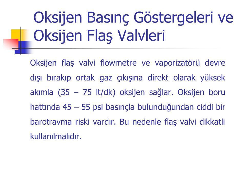 Oksijen Basınç Göstergeleri ve Oksijen Flaş Valvleri