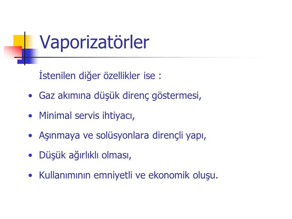 Vaporizatörler İstenilen diğer özellikler ise :