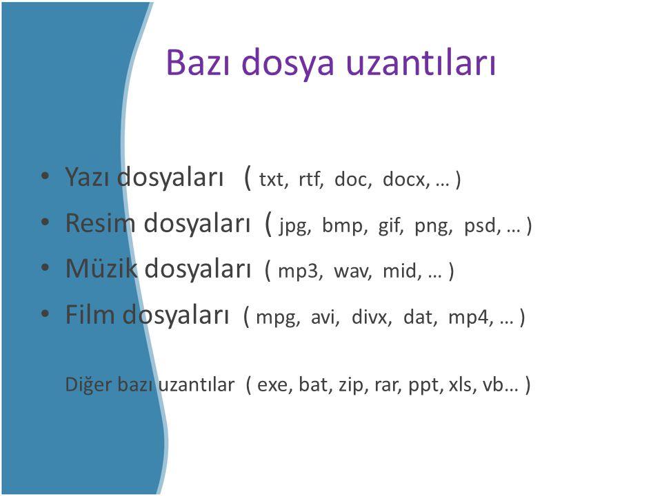 Bazı dosya uzantıları Yazı dosyaları ( txt, rtf, doc, docx, … )