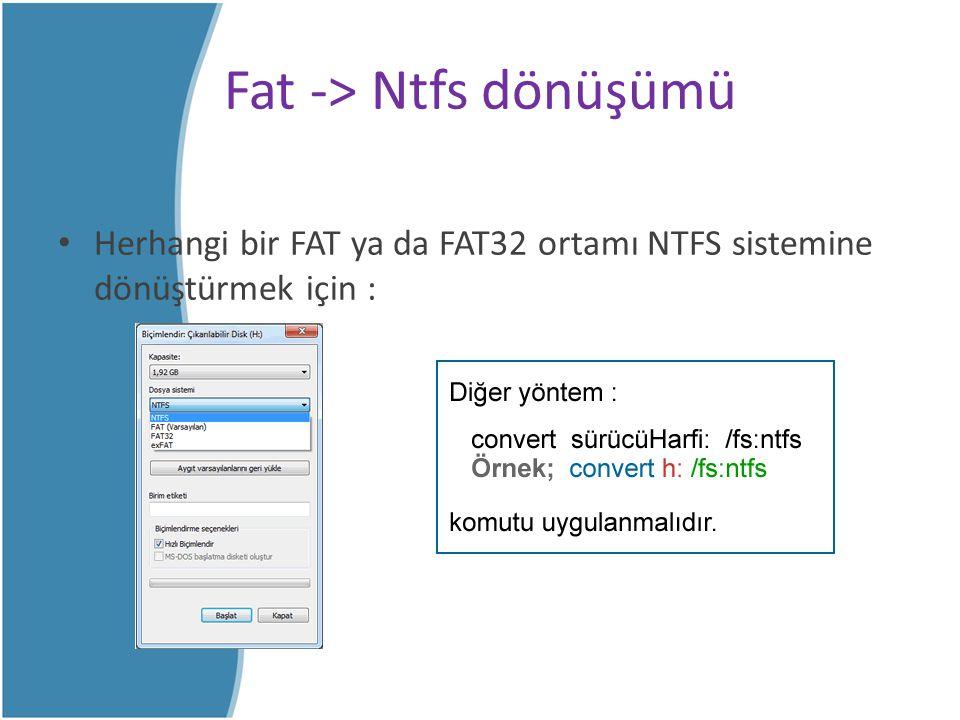 Fat -> Ntfs dönüşümü