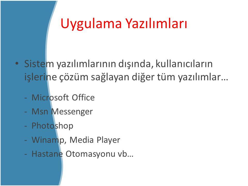 Uygulama Yazılımları Sistem yazılımlarının dışında, kullanıcıların işlerine çözüm sağlayan diğer tüm yazılımlar…