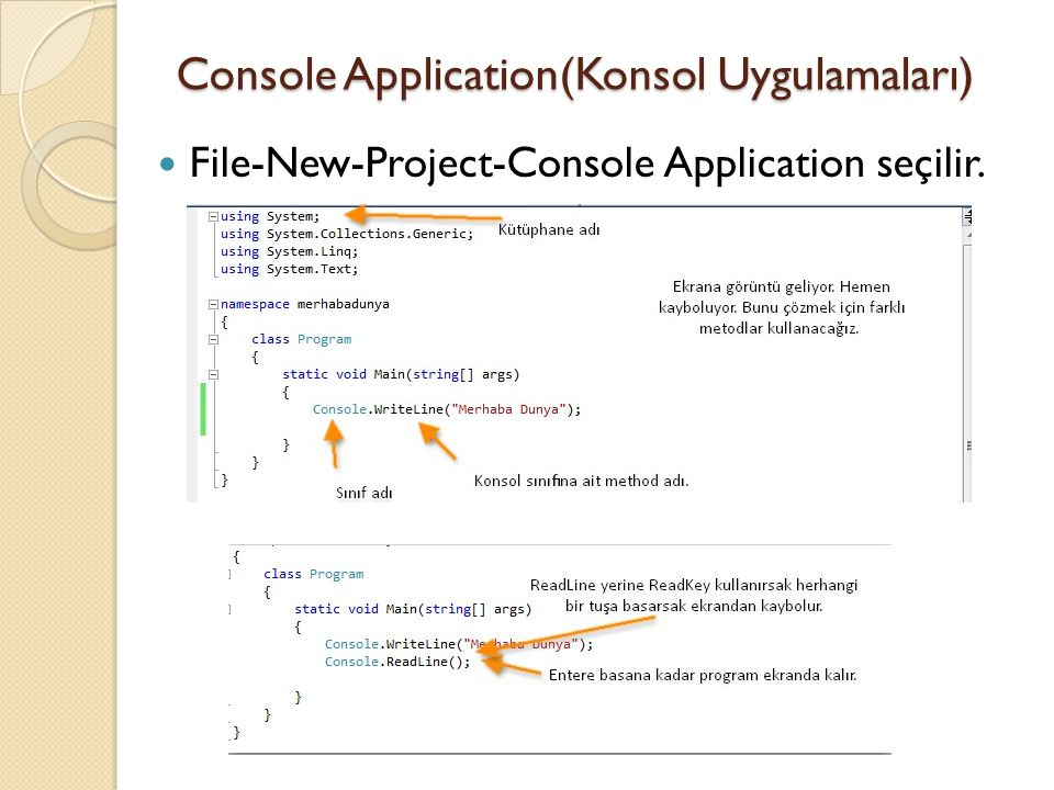 Console Application(Konsol Uygulamaları)
