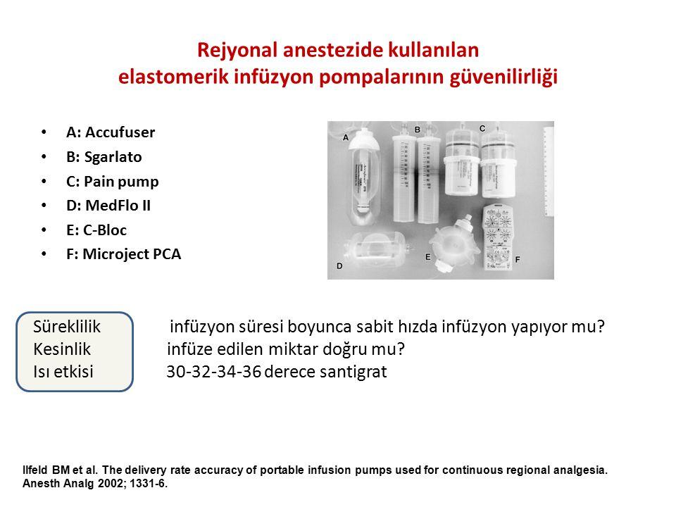 Rejyonal anestezide kullanılan elastomerik infüzyon pompalarının güvenilirliği