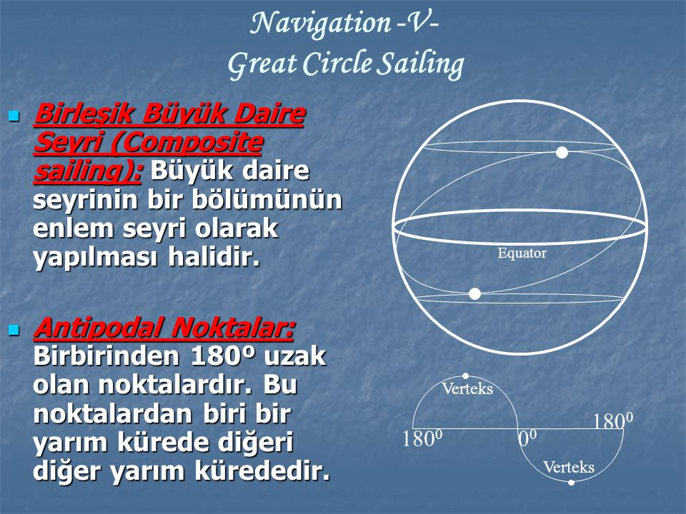 Navigation -V- Great Circle Sailing