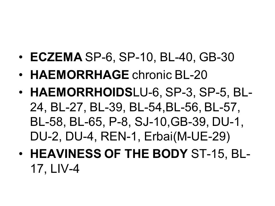 ECZEMA SP-6, SP-10, BL-40, GB-30 HAEMORRHAGE chronic BL-20.