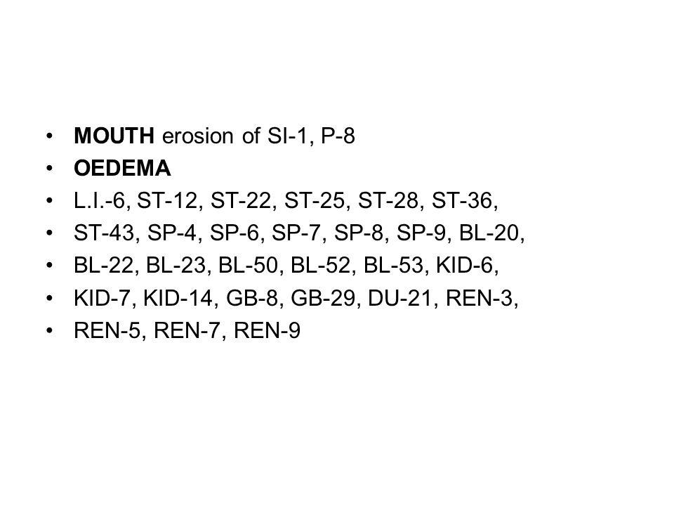 MOUTH erosion of SI-1, P-8 OEDEMA. L.I.-6, ST-12, ST-22, ST-25, ST-28, ST-36, ST-43, SP-4, SP-6, SP-7, SP-8, SP-9, BL-20,