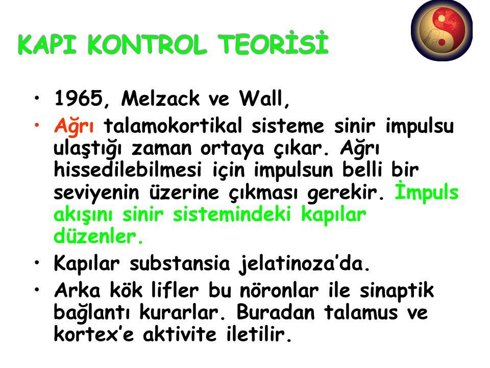KAPI KONTROL TEORİSİ 1965, Melzack ve Wall,